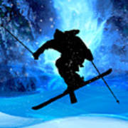 Winter Landscape And Freestyle Skier Art Print