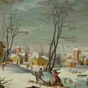 Winter Landscape Of A Village Art Print