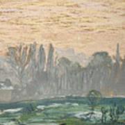 Winter Landscape With Evening Sky Art Print