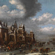 Winter Landscape With Horses Sleighs And Skaters In Front Of A Fortified Town, Art Print