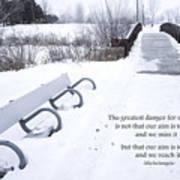 winter landscape with Inspirational Text Art Print