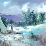 Winter Lodge Art Print