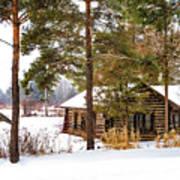 Winter Log Cabin 3 - Paint Art Print