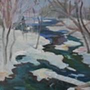 Winter Mill Stream  Art Print