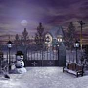 Winter Night Scene Art Print