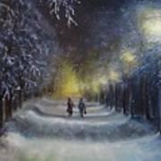Winter night walk  Art Print