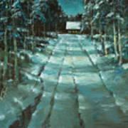 Winter Road In Village Art Print