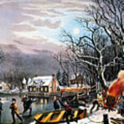Winter Scene: Evening 1854 Art Print