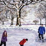 Winter Skating In Quebec Art Print