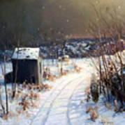 Winter Sleep North On River Road Bucks County Art Print