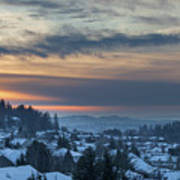 Winter Snow At Sunset In Happy Valley Oregon  Art Print