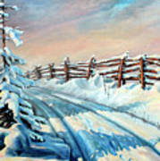 Winter Snow Tracks Art Print