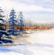 Winter Storm Watercolor Landscape Art Print