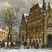 Winter Street Scene. Oudewater Art Print
