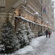 Winter Stroll In Helsinki Art Print