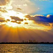 Winter Sunrise Over Miami Beach Art Print
