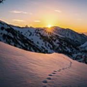 Winter Sunset Over Little Cottonwood Canyon Art Print