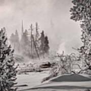 Winter Thermal Steam - Yellowstone Art Print