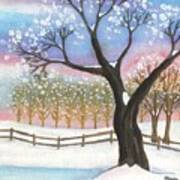 Winter Tree Landscape Art Print