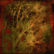 Winter Trees In Gold And Red Art Print