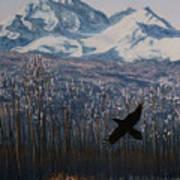 Winter Valley Raven Art Print