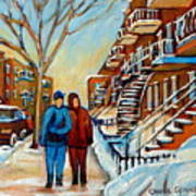 Winter Walk In Montreal Art Print