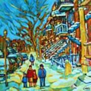 Winter  Walk In The City Art Print