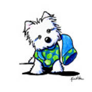 Winter Westie With Lime Art Print
