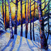 Winter Woodland Sunset Modern Impressionism Palette Knife Oil Painting Art Print
