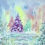 Winter Wonderland Aurora Borealis  Art Print