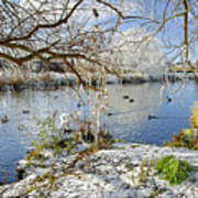 Wintry River At Newton Road Park Art Print