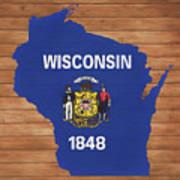 Wisconsin Rustic Map On Wood Art Print