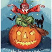 Witch In A Big Pumpkin Art Print