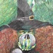 Witch In Action Art Print by Brigitte Hintner