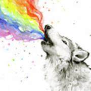 Wolf Rainbow Watercolor Art Print
