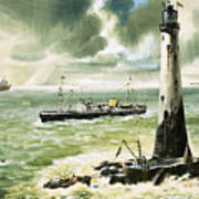 Wolf Rock Lighthouse At Land's End Art Print