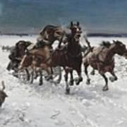 Wolves In Pursuit By Alfred Wierusz-kowalski 1849-1915 Art Print