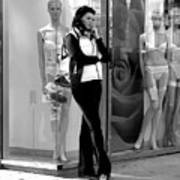 Woman And Mannequins Art Print