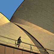 Woman At Sydney Opera House Art Print