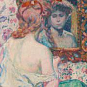 Woman At The Mirror  Art Print