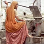 Woman At The Pump Art Print
