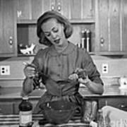 Woman Baking In Kitchen, C.1960s Art Print