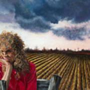 Woman By A Plowed Field Art Print