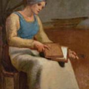 Woman Carding Wool Art Print