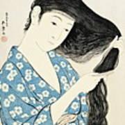Woman Combing Her Hair Kami Sukeru Onna Art Print