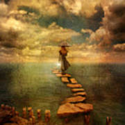 Woman Crossing The Sea On Stepping Stones Art Print by Jill Battaglia