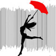 Woman Dancing In The Rain With Red Umbrella Art Print