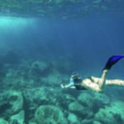 Woman Free Diving Art Print