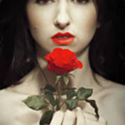 Woman Holding A Red Rose Art Print