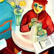 Woman In A Cafe Art Print